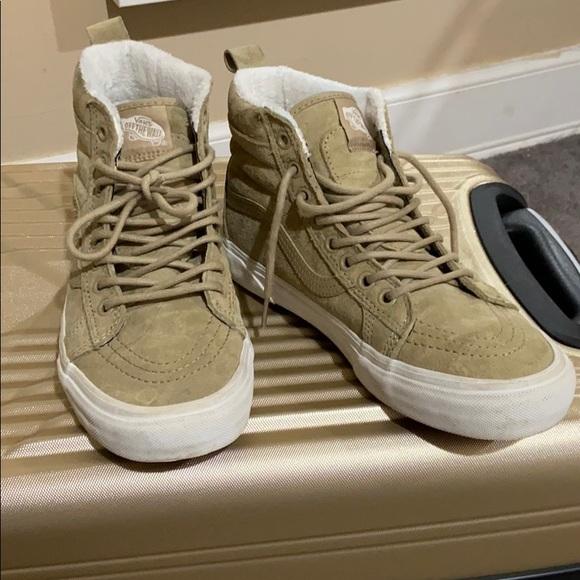 Vans Shoes | Fur Lined Tan Suede High